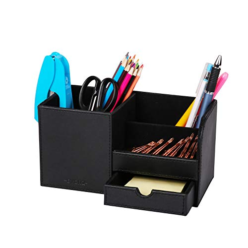 Exerz EX7078 Premium Grande Organizador de Escritoriode de Cuero sintético/Organizador de Oficina/Portalápices/Sistema de Escritorio/Organizador Multifuncional - Negro