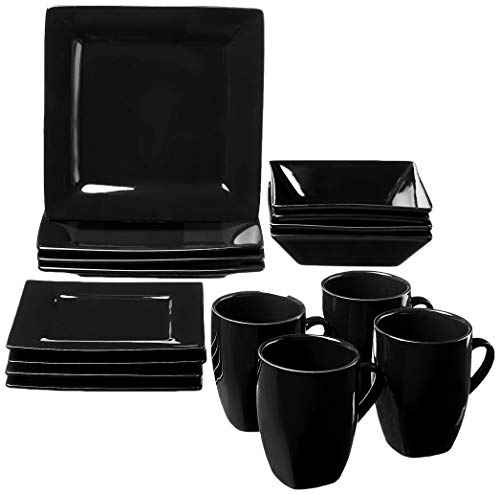 10 Strawberry Street Nova Square Dinnerware Set, 16 PIECE, Black