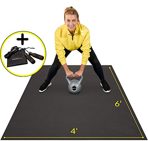 Premium Large Exercise Mat 6' x 4' x 7mm | Ultra-Durable Non-Slip Rubber Workout Mat for Home Gym Flooring | Ideal for Cardio, Fitness, Plyo, MMA and Yoga | Bonus Jump Rope and Storage Bag Included
