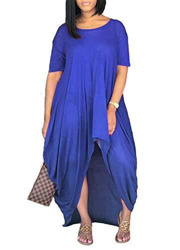 Remelon Women Short Sleeve Loose Fit Ruched High Low Asymmetrical Swing T Shirt Long Maxi Dress Blue XL