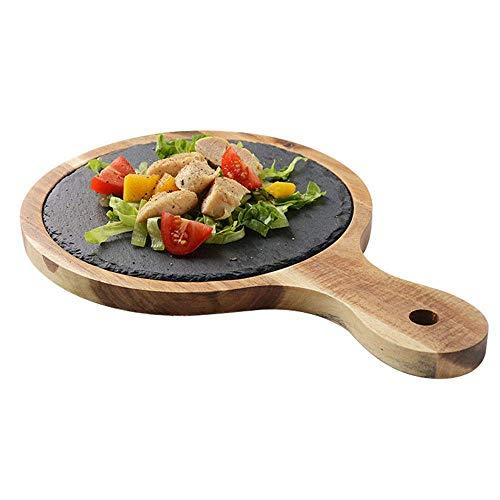 WYBD.Y Tragbares Pizza Peel Steak Brot Schneidebrett, DREI Größen.Hergestellt aus Akazienholz und Feuerstein, geeignet für Küche, Esszimmer und Backen Massivholz Anti-Verbrühungs-Tablett, L