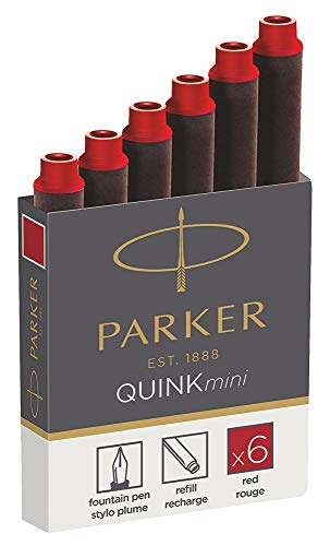 Parker Quink 1950408 - Mini cartuchos de tinta, color rojo, pack de 6