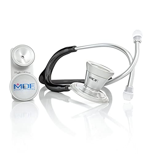 MDF ProCardial Core Titanium Dual Head Adult-Pediatric Stethoscope with Adult Cardiology Bell Convertible Attachment - Free-Parts-for-Life & - Black (MDF797DDT-11)