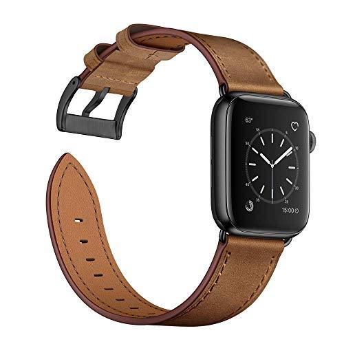 Arktis Lederarmband kompatibel mit Apple Watch (SE, Series 6, Series 5, Series 4 mit 44 mm) (Series 3, Series 2, Series 1 mit 42 mm) Wechselarmband [Echtleder] inkl. Adapter - Vintage Braun