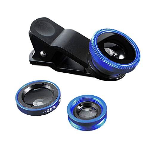 3 in 1 Handy Objektiv Set, Clip-On Kamera-Adapter für Smartphones - Fischaugenobjektiv (180° Fisheye Linse) + Weitwinkel (0,67x Wide) + Makroobjektiv (10x) - für alle Handys geeignet (Blau)