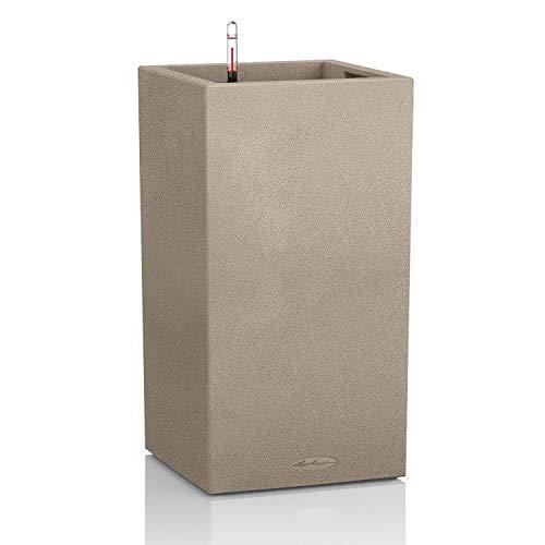 Lechuza CANTO Stone 30 high, Sandbeige, Hochwertiger Kunststoff, Inkl. Bewässerungssystem, Herausnehmbarer Pflanzeinsatz, Für Innen- und Außenbereich, 13601