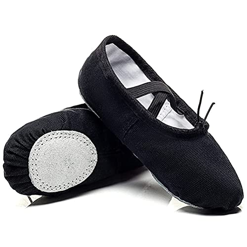 PINGZG Zapatos de Ballet para niños, niñas Zapatillas de Baile Lienzo Zapatos de Yoga Gimnasia divididos Sole Lienzo Plana para Mujeres y Adultos (Color : Black, Size : 38 23cm)