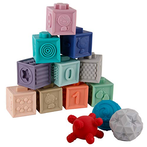 BOBXIN 15PCS Baby Blocks Toys Soft Building Blocks Sensory Ball Set teethers for Babies Bath Toys Squeeze Play with Numbers Shapes Animals Fruit and Textures Toy for 6 Months Toddlers