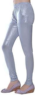 Aglobi Women's Viscose Shimmer Churidar Leggings (Silver, Free Size)