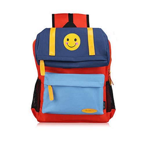 41+gHQdIY L - FLHLH Mochila Escolar Unisex para Mochila Escolar Primaria,Mochila Escolar para niños Smiley, Mochila de Tela Oxford para Estudiantes, Transpirable y portátil, Azul