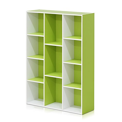 FURINNO 11107WH-GR 7 Reversible, 11-Cube, White Green
