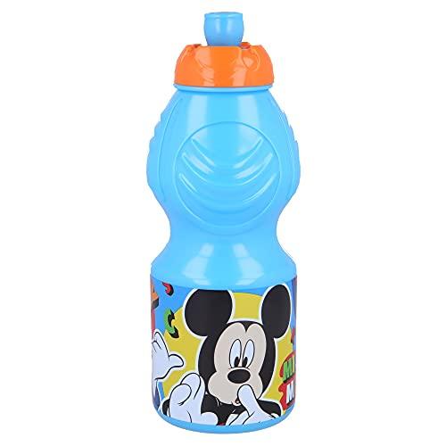 MICKEY MOUSE | Botella de Agua Infantil con cierre antifugas | Cantimplora Reutilizable para niños con tapón anti goteo - Libre de BPA - 400 ML