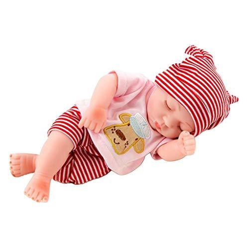 F Fityle Sleeping Reborn Baby Boy Doll, 10 Pulgadas Reborn Sleeping Boy, Muñeca Reborn Realista Realista con Accesorios de Ropa para Mayores de 3 años - Rojo