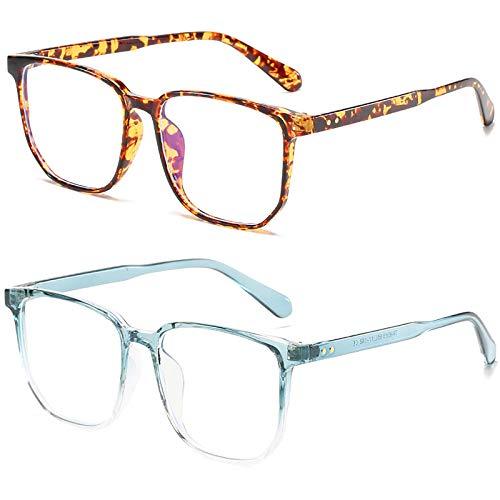 Bias&Belief Pack de 2 Gafas con Bloqueo de luz Azul Gafas para Juegos de computadora TR Montura Cuadrada Montura de anteojos Gafas para Juegos Anti-Fatiga Ocular para Mujeres y Hombres,H