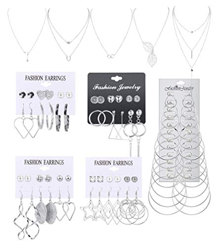 Milacolato Necklace and Earring Jewelry Set with 36 Pairs Layered Ball Dangle Hoop Stud Earrings and 5 PCS Necklaces of Different Lengths for Women Jewelry Fashion and Valentine Birthday Party Gift