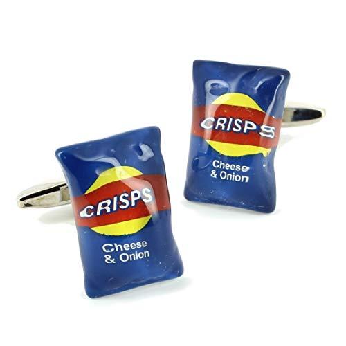 Cravate Avenue Signature. Boutons de Manchette. Paquet de Chips, Acier rhodié. Bleu, Fantaisie.
