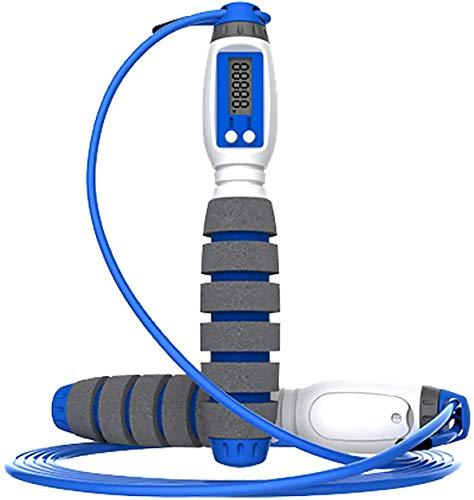 Springseil mit Digital Zähler, Springseil mit 4 Zählmodi, Anzahl der Sprünge, Kalorienverbrauch, Meilen und Km, Speed Rope mit Komfortablen und Anti-Rutsch Griffen für Training, Fitness (Blau)