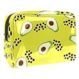 Bolsa de maquillaje portátil con cremallera bolsa de aseo de viaje para las mujeres práctico almacenamiento cosmético bolsa verde pera en la mitad