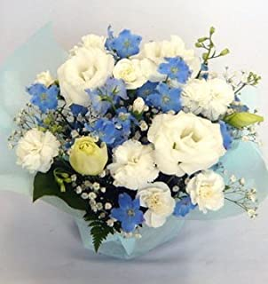 お供えのお花 フラワーアレンジメント (白&ブルー・紫)