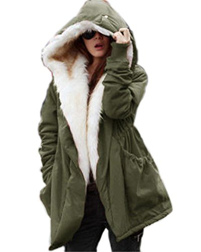 Roiii Neu Damen Winter Warm Casual Parka Kunstpelz Schwarze Jacke Kapuzenmantel Größe 36-50 (XXXL,Grün Weiß)