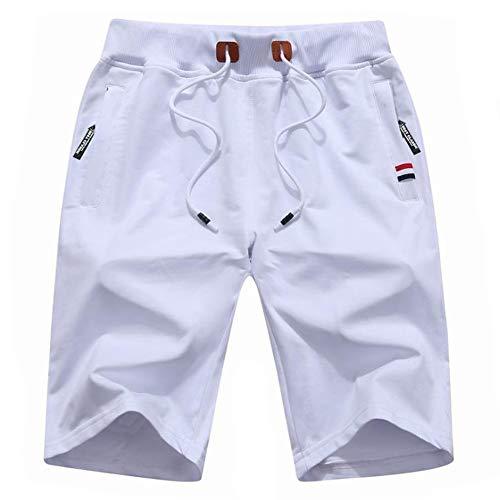 YSENTO ショートパンツ メンズ カジュアル ハーフパンツ 無地 コットン UVカット ランニング 5分丈 半ズボン 大きいサイズ ホワイト L