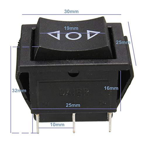 Ashley GAO AC 250V/10A 125V/15A 6-Pin DPDT Interruptor basculante momentáneo para ventana eléctrica 12V