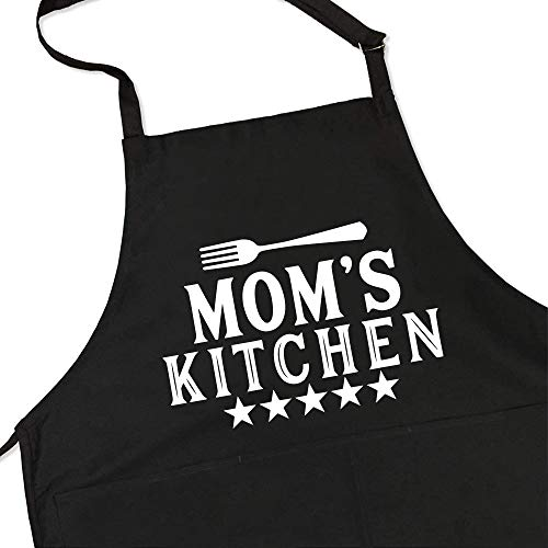 Chillake Funny Aprons for Mom Women Wife Friends | Mom's Kitchen Black Bib Apron Waterproof with Pockets and Adjustable Neck Strap | Best Gifts for Cooking Baking Grilling Birthday Christmas