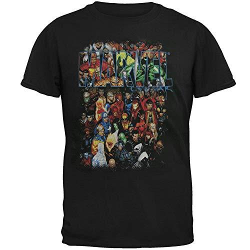 MARVEL COMICS HEROS GROUP SHOT T SHIRT,Black,XXLarge