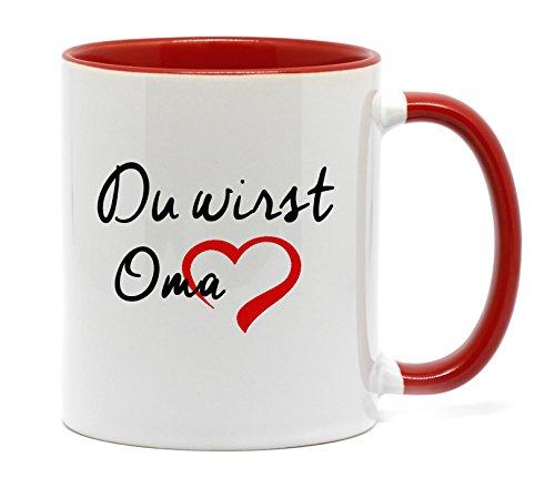 Nice-Presents Du wirst OMA Tasse in hochwertiger Qualität, beidseitig Bedruckt. Die schönste Art wenn Man etwas zu Sagen hat. EIN tolles Geschenk für die künftige OMA (Rot)