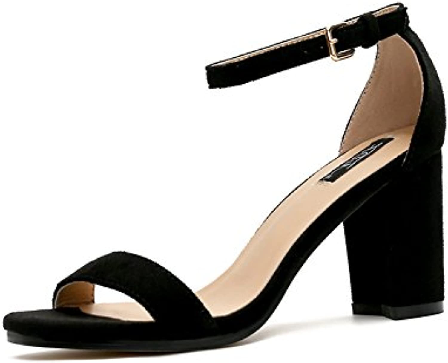 Europe and the United States 2017 new women's shoes with high heels, a word with thick, sexy Heel Toe sandals female,38, 7.5CM heel high
