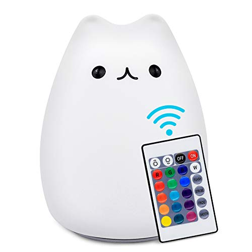 Cute Night Light SCOPOW Portable Silicone Remote Colorful LED Smile Cute Kawaii Nightlight Cat Lamp Baby Night Light