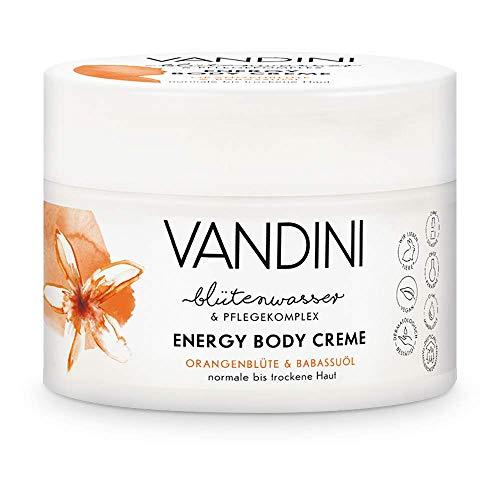 VANDINI Energy Body Creme Damen mit Orangenblüte & Babassuöl - Körpercreme & Gesichtscreme für normale bis trockene Haut - vegane Feuchtigkeitscreme für Frauen (1x 200 ml)