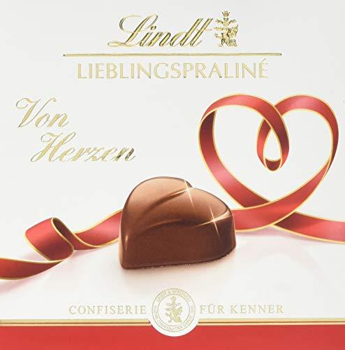 Lindt Lieblingspraliné Nougat, Confiserie für Kenner, 10 Mini-Pralinen-Packungen, 5x rot mit Gruß