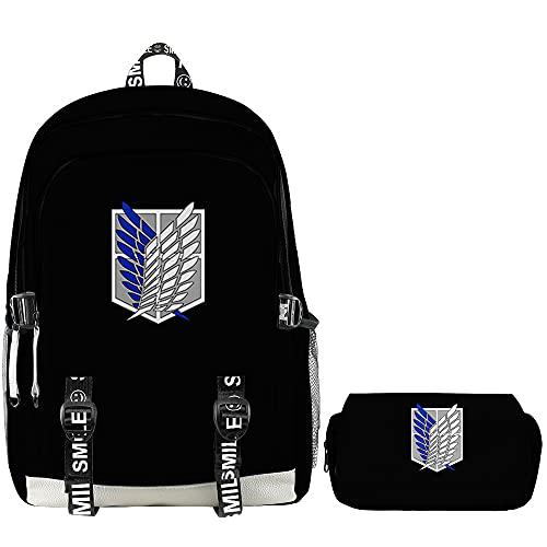 Backpack Anime Attack On Titan Zaini Adolescente Ragazzi Ragazze 3D Oxford Zaino Impermeabile Donna Uomo Rucksack Borse Per Laptop
