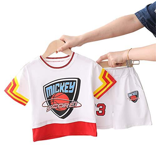 Kinder Basketball Trikots Sets # 23 Mickey Scorei, Boy Girl Rundhals Stickerei Ball Wear Weste Shorts Sets Weiß-White-S