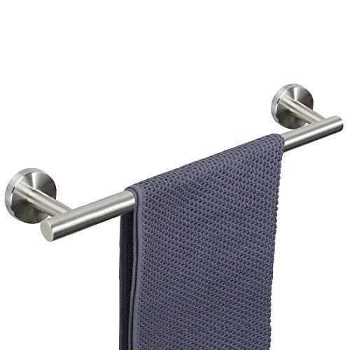 NearMoon Bathroom Towel Bar, Bath Accessories Thicken Stainless Steel Shower Towel Rack for Bathroom, Towel Holder Wall Mounted (Brushed Nickel, 18 Inch)
