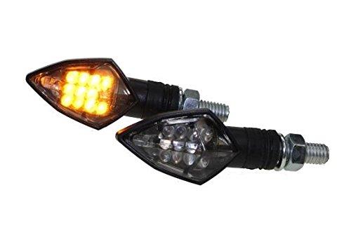 LED Mini Blinker RACE schwarz getönt (smoke Grey) für Motorrad Roller mit E-Nummer