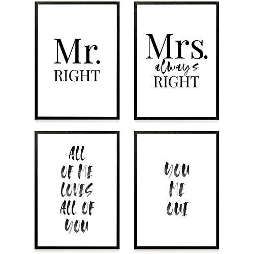 Heimlich ® Premium Poster Set | Stilvolles Set mit passenden Bilder in Schwarz-Weiß | 4 Stück in DIN A4 (21x30cm) | Ohne Bilderrahmen » Mr. & Mrs «