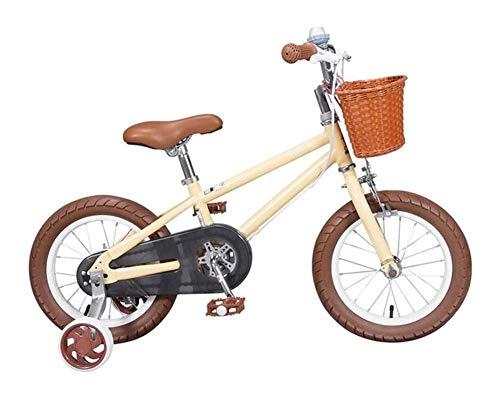 Bicicleta para Niños y Niñas Marco de niños Acero de la Bici de la Bicicleta Infantil pequeña Princesa Style de 16 Pulgadas con la Rueda de formación (16 Pulgadas) Color: Beige