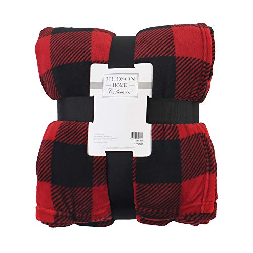 Hudson Baby Home Silky Plush Blanket, Buffalo Plaid Fleece, 50X60 in. (Throw) (59236)