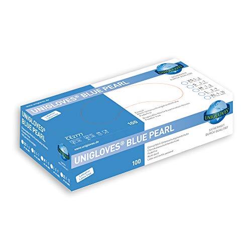 Nitril-Handschuhe blau puderfrei BLUE PEARL von UNIGLOVES - 100 Stck. Größe • Gr. XS