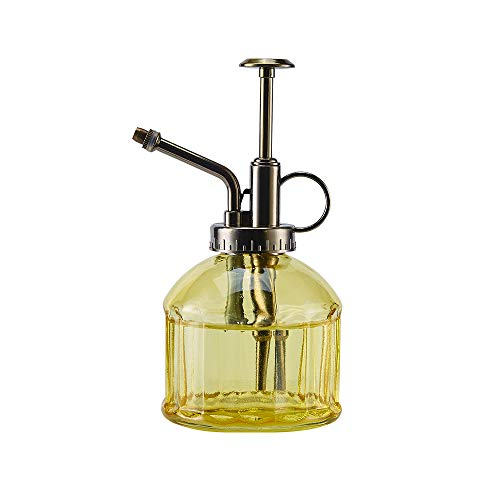 """Ebristar Glass Plant Mister Spray Bottle, 6.5"""" Tall Vintage Plant Spritzer Watering Can, Succulent Watering Bottle with Top Pump, Small Plant Sprayer Mister for Indoor Outdoor House Plant - Yellow"""