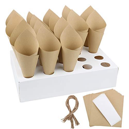 50 Stk Hochzeit Konfettizapfen Retro Kraft Papier Kegeltüten mit Kegel Box für Konfetti Blütenblätter Candy Schokoladen Hochzeit Gastgeschenk Verpackung, mit Doppelseitiges Klebeband, Juteschnur