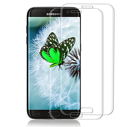 [2 Pièces ]Verre Trempé pour Samsung Galaxy S7 Edge, HD Protecteur D'écran, Anti-Bulles, Anti Rayure, Film de Protection Écran en Verre Trempé pour Samsung Galaxy S7 Edge (Transparent)