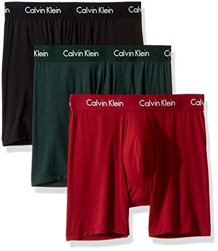 Calvin Klein Men's Body Modal Boxer Briefs, Black/Sacrab/Dylan Red, XL