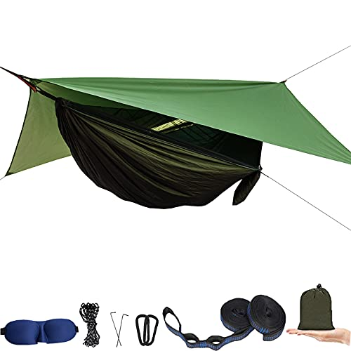 Camping Hammock with Mosquito Net and Rain Fly XL - Portable Travel Hammock Bug Net - Camping Equipment - Hammock Tent for Outdoor Hiking Campin Backpacking Travel (Army Green)