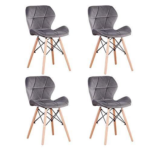 WV LeisureMaster Set mit 4 Bürostühlen im Retro-Stil, Esszimmerstuhl aus Velours, Esszimmerstuhl mit Rückenlehne Typ Schmetterling (Veloursgrau)