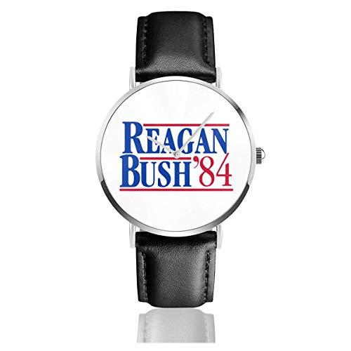 Reagan Bush 84 Political Election Reloj para Hombre con Correa de Cuero GOP, Pulsera de Cuarzo, Correa de Cuero Negra y Esfera Fina
