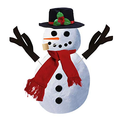 Snowman Kit | Snowman Decoration | Snowman Making Kit | Christmas Gift | Winter Outdoor Fun Toys for Kids | 16 Pcs Snowman Decorating Kit includes Hat Scarf Nose Pipe Eyes Mouth and Buttons