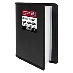 9x12 Art Presentation Book: Displays paintings, photos, artwork, drawing, stencils. Provides storage protection. Art binder is water, spill and dirt resistant, lies flat when open. Great for Kids: Use artist portfolio folder for homeschool assignment...